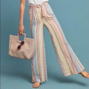Anthropologie Stripe Wide Leg Linen Blend Pants